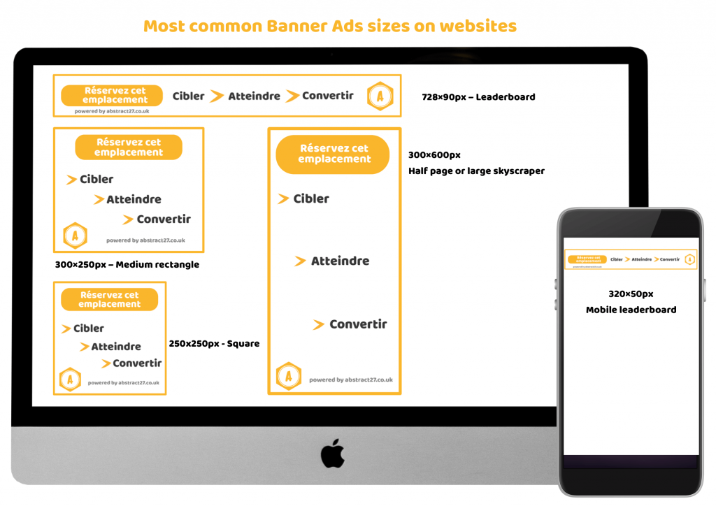 Advertising banners most common sizes on websites